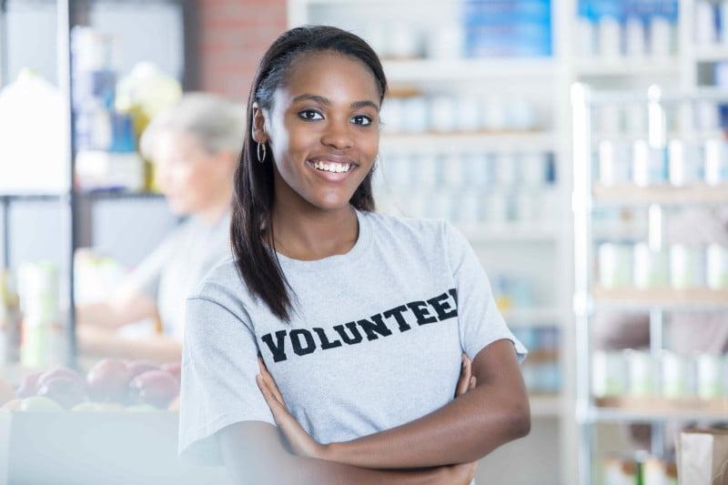 Portrait of confident food bank volunteer